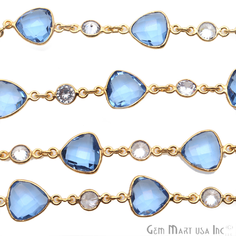Tanzanite & Crystal Gold Plated Bezel Link Continuous Connector Chain