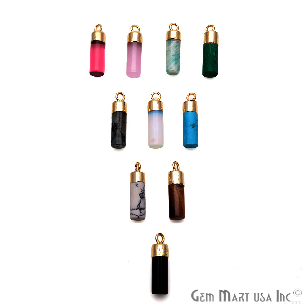 Pencil Shape Gemstone 18x5mm Gold Electroplated Connector Charm Pendant (Pick Your Gemstone)