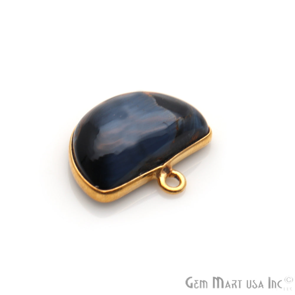 Pietersite Cabochon 15x17mm Gold Plated Single Bail Gemstone Connector