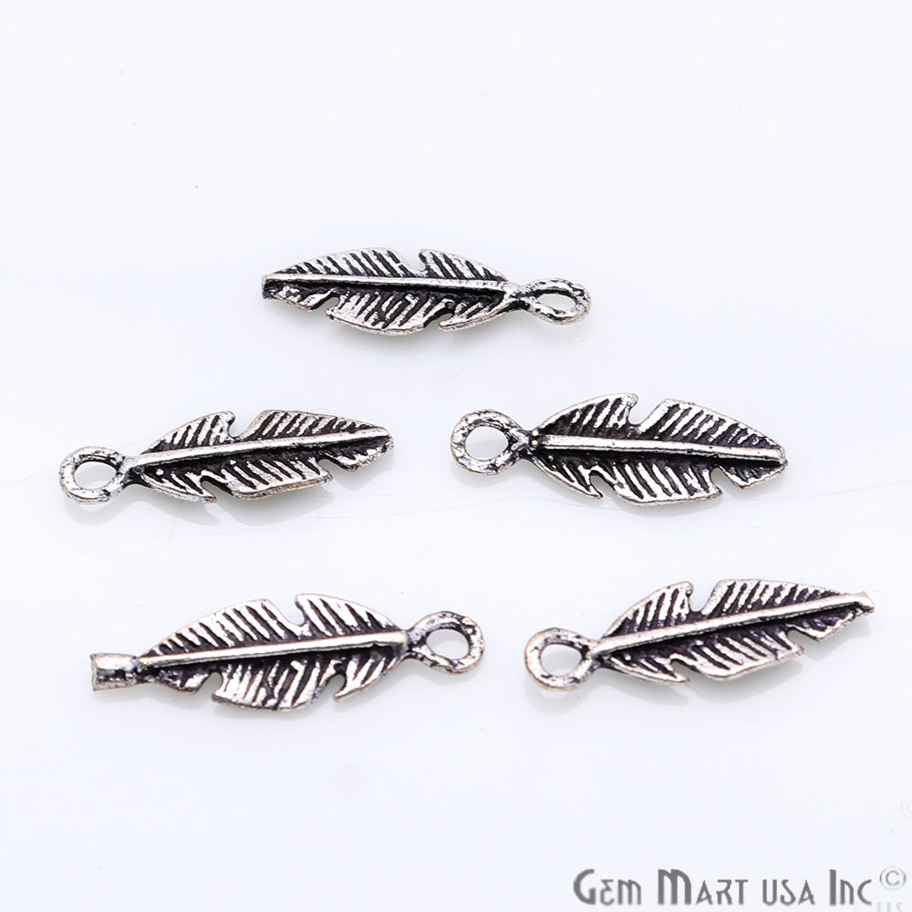 5pc Lot Leaf Shape Oxidized 18x6mm Charm For Bracelets & Pendants