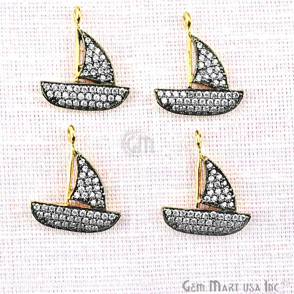 Cubic Zircon Pave 'Sail Boat' Shape Gold Vermeil Charm for Bracelet Pendants & Necklace