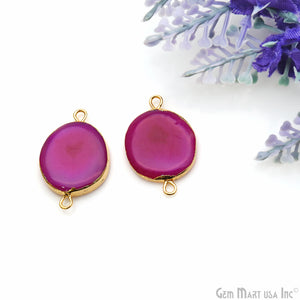 Agate Slice 15x25mm Organic Gold Electroplated Gemstone Earring Connector 1 Pair