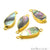 Abalone 10x20mm Pears Shape Gold Electroplated Double Bail Gemstone Connector