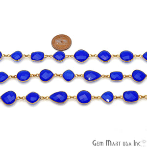 Blue Chalcedony 10-15mm Gold Plated Mix Shape Bezel Continuous Connector Chain - GemMartUSA
