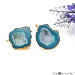DIY Agate Slice Geode Druzy 21x28mm Gold Electroplated Loop Connector Studs Earrings - GemMartUSA
