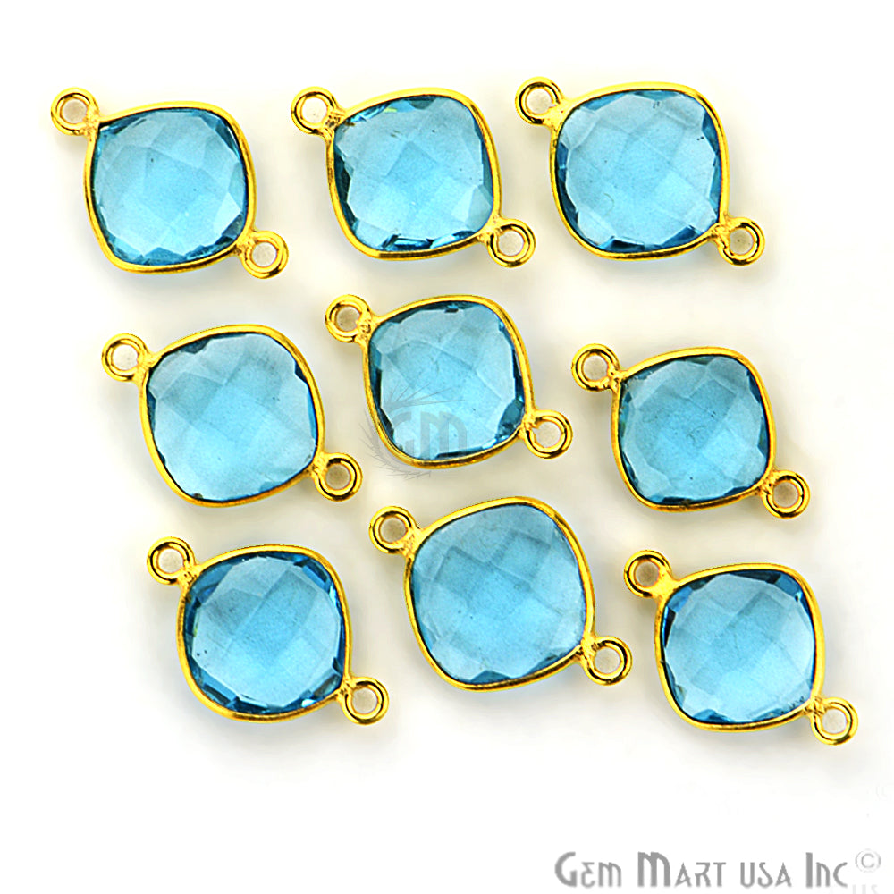 Blue Topaz Cushion 10mm Gold Plated Double Bail Gemstone Connector
