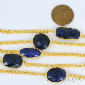 Sapphire 15mm Gold Plated Bezel Link Connector Chain - GemMartUSA