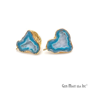 DIY Agate Slice Geode Druzy 30x24mm Gold Electroplated Loop Connector Studs Earrings - GemMartUSA