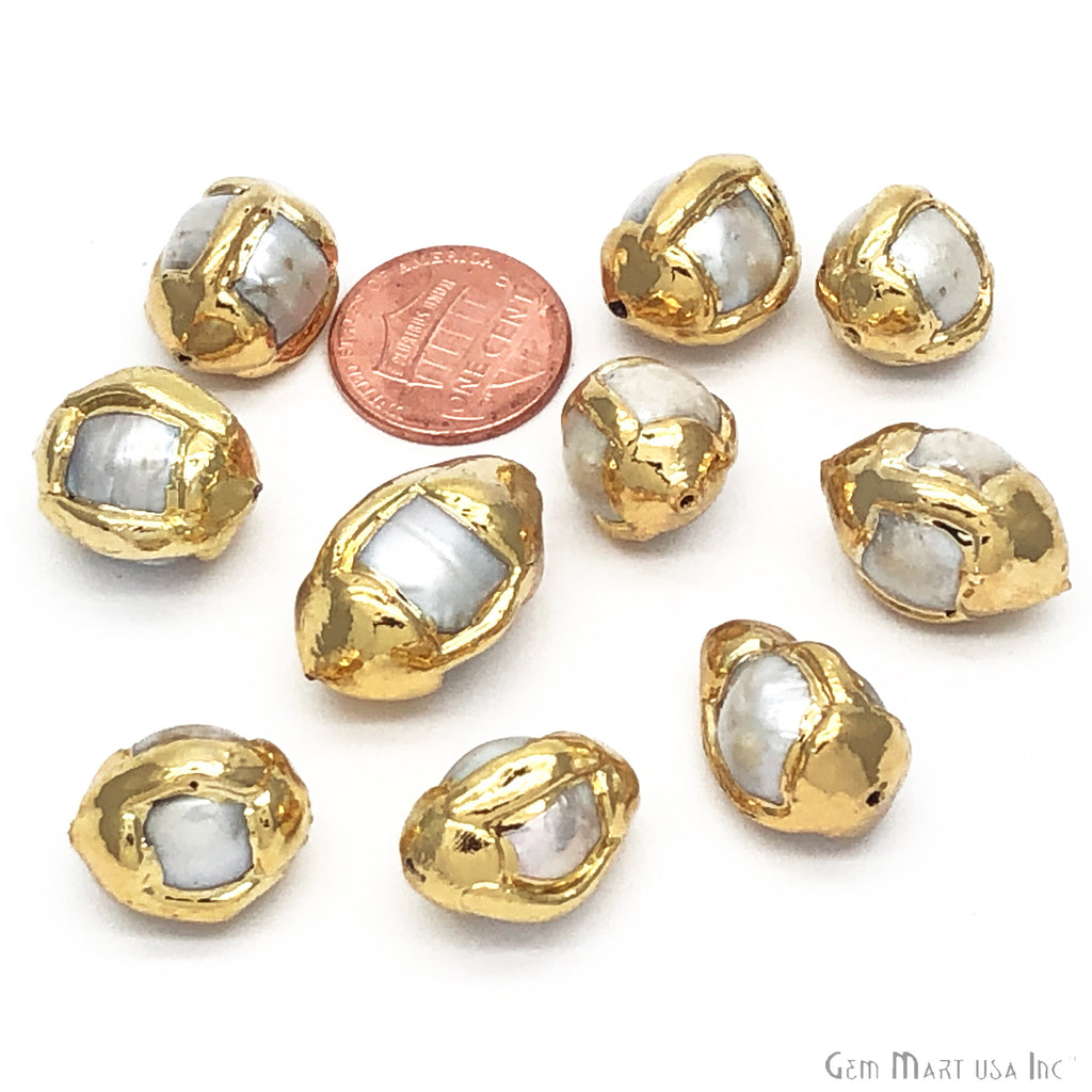 Natural Pearl Gemstone Gold Edge Ball Drilled Beads