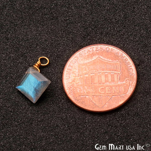 Labradorite 7mm Square Single Bail Gold Wire Wrapped Gemstone Connector - GemMartUSA