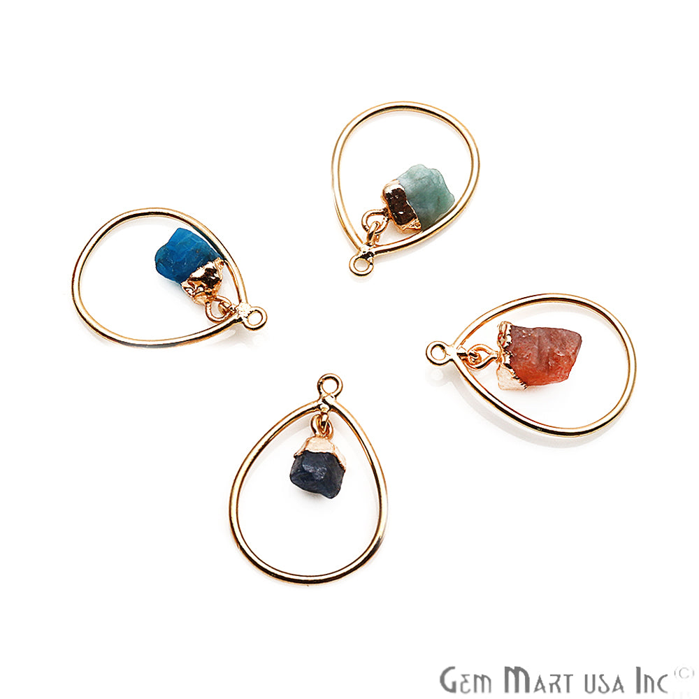 DIY Rough Gemstone Dangle Connector - 1pc (Pick Your Gemstone)