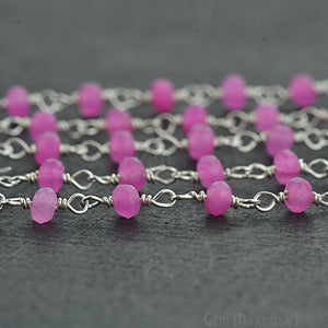 Hot Pink Chalcedony Silver Plated Wire Wrapped Beads Rosary Chain