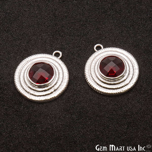 DIY Gemstone Round 24x21mm Silver Plated Finding Connector 1pc (Pick Stone) - GemMartUSA