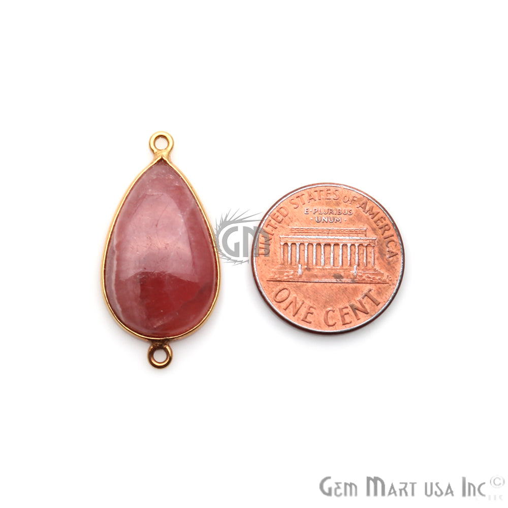 Rhodochrosite Cabochon 15x30mm Pears Gold Plated Double Bail Gemstone Connector