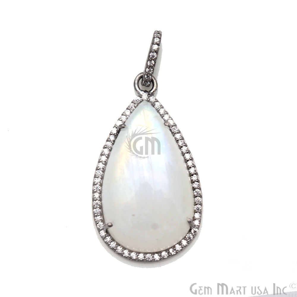 Rainbow Moonstone With Cubic Zircon Pears 35x20mm Black Plated Necklace Pendant