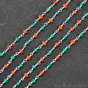 Carnelian With Green Onyx Beads Rosary Chain, Silver Plated Wire Wrapped Rosary Chain