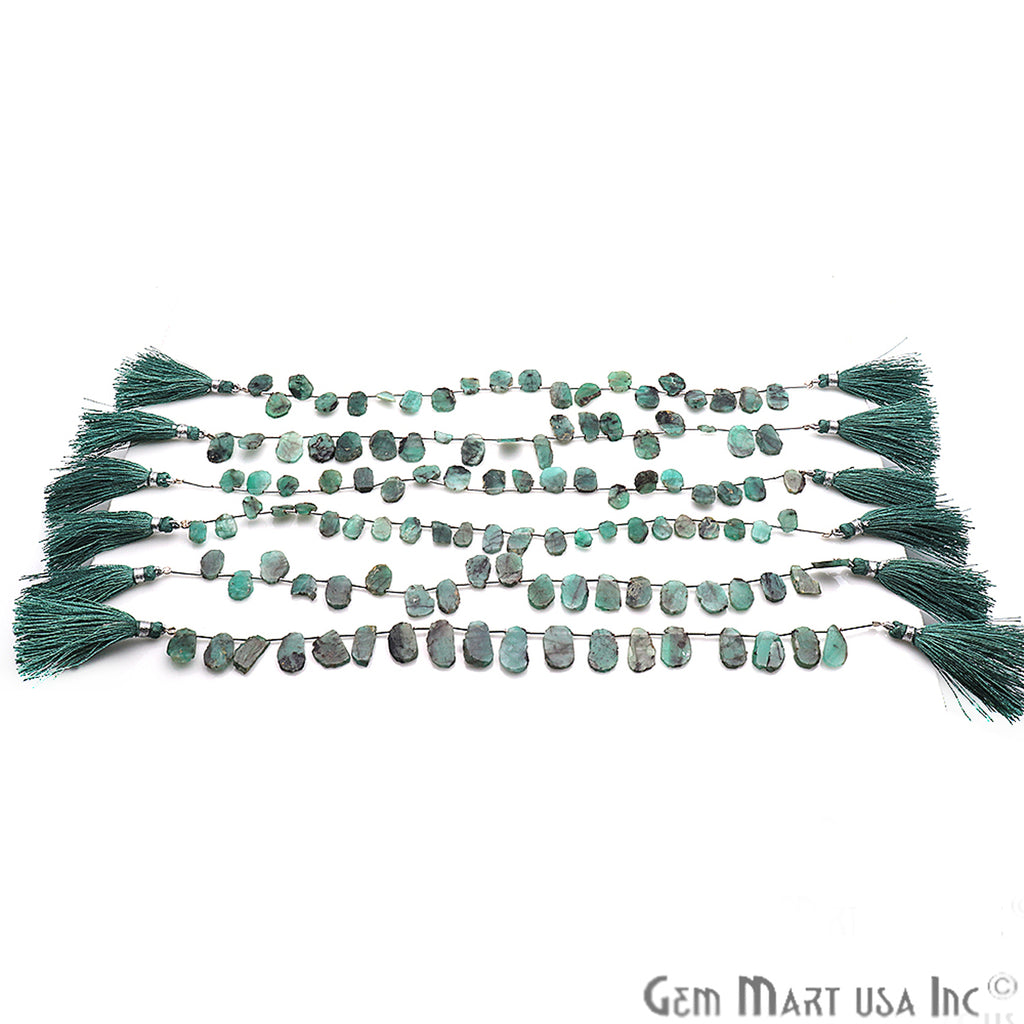 Natural Rough Emerald Gemstone 14X10mm Beaded Handmade Silver Wire Rondelle