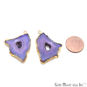 Agate Slice 27x37mm Organic  Gold Electroplated Gemstone Earring Connector 1 Pair