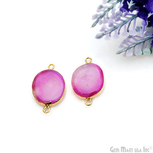 Agate Slice 15x26mm Organic Gold Electroplated Gemstone Earring Connector 1 Pair