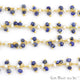 Lapis With Pearl Faceted Beads Gold Wire Wrapped Cluster Dangle Chain - GemMartUSA