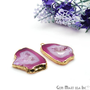 Agate Slice 24x34mm Organic Gold Electroplated Gemstone Earring Connector 1 Pair - GemMartUSA