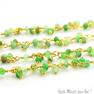 Chrysoprase Faceted Beads Gold Wire Wrapped Cluster Dangle Chain - GemMartUSA