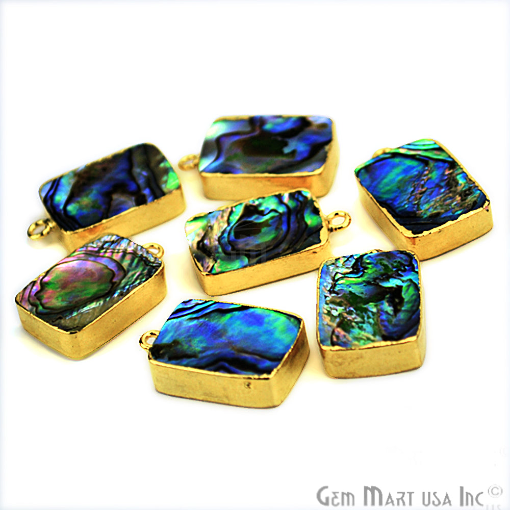Abalone 13x18mm Octagon Shape Gold Electroplated Single Bail Gemstone Connector
