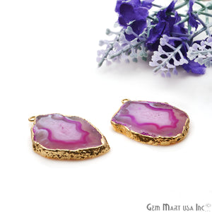 Agate Slice 36x25mm Organic Gold Electroplated Gemstone Earring Connector 1 Pair - GemMartUSA