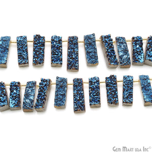 "Blue Druzy Rectangle Beads 25X8mm Appx 8"" Strand"