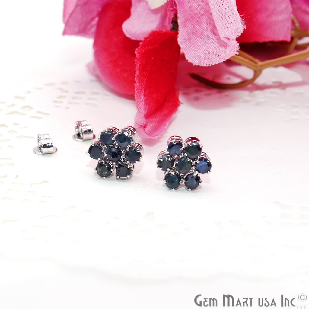 Black Sapphire 10mm Sterling Silver Round Shape Stud Earring