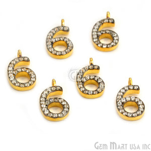 '6' Numbering CZ Pave Gold Vermeil Charm for Bracelet & Pendants