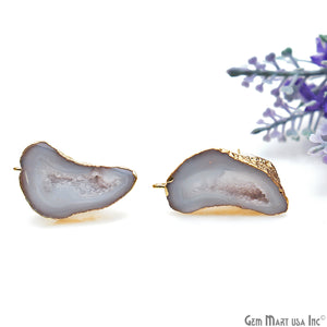 DIY Agate Slice Geode Druzy 15x32mm Gold Electroplated Loop Connector Studs Earrings - GemMartUSA