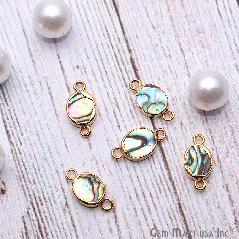Abalone Shell Oval Shape Gold Electroplated Double Bail 8x10mm Gemstone Connector