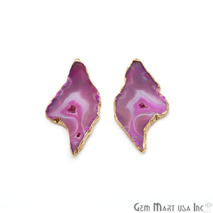 Agate Slice 60x29mm Organic Gold Electroplated Gemstone Earring Connector 1 Pair - GemMartUSA