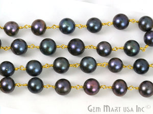 Black Pearl Gold Plated Wire Wrapped Gemstone Beads Rosary Chain - GemMartUSA