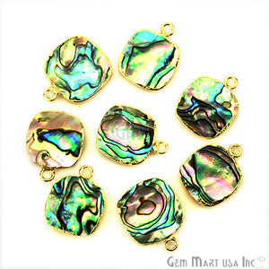 Abalone 14mm Cushion Shape Gold Electroplated Single Bail Gemstone Connector