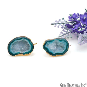 DIY Agate Slice Geode Druzy 33x20mm Gold Electroplated Loop Connector Studs Earrings - GemMartUSA