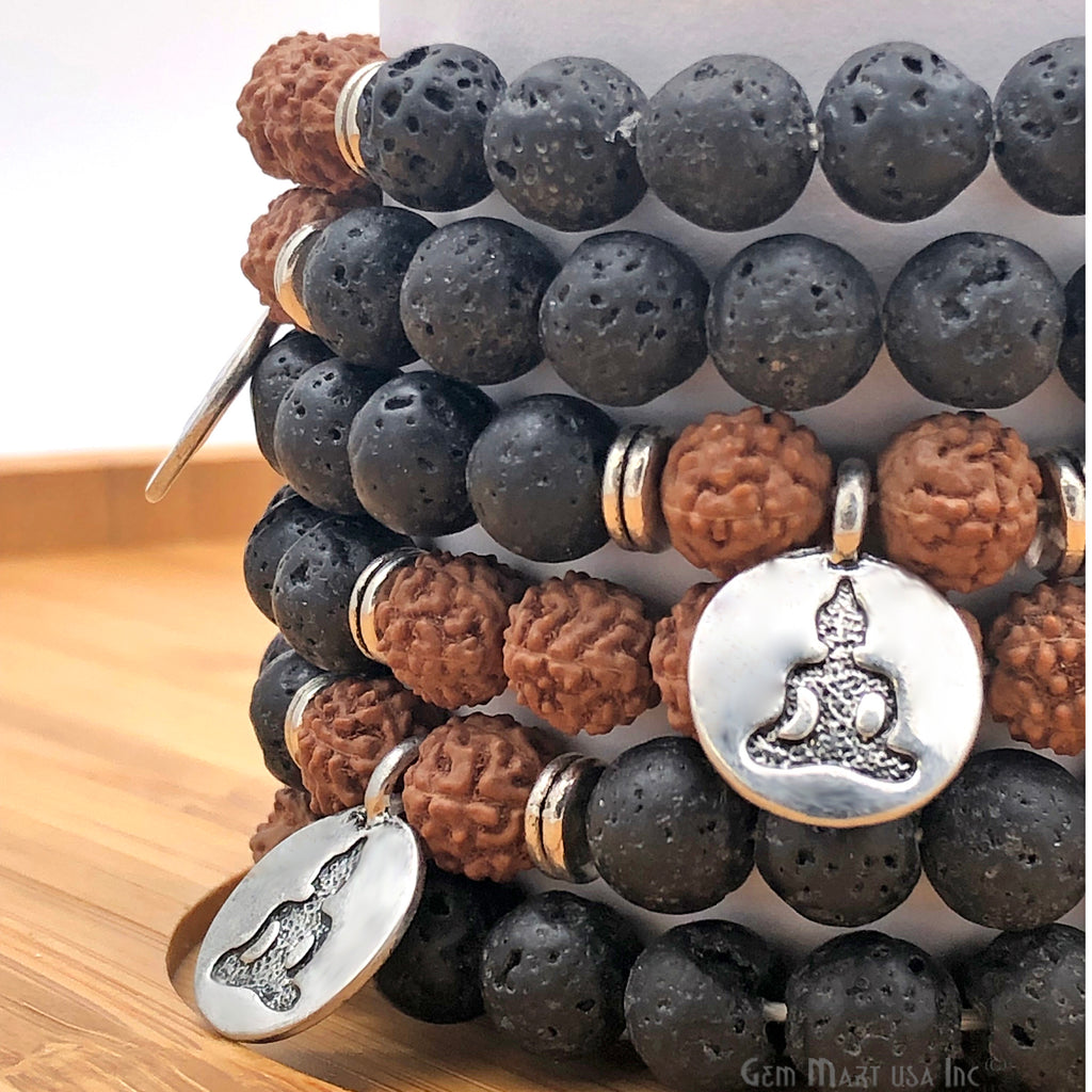 rudraksha and black Lava meditation bracelets
