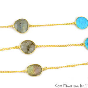 Turquoise With Labradorite 15mm Gold Plated Bezel Link Connector Chain