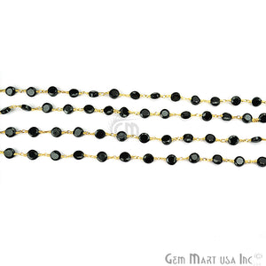 Black Spinel Coin 5mm Gold Plated Wire Wrapped Beads Rosary Chain - GemMartUSA