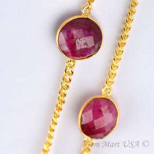 Ruby 10-15mm Gold Plated Bezel Connector Link Rosary Chain - GemMartUSA