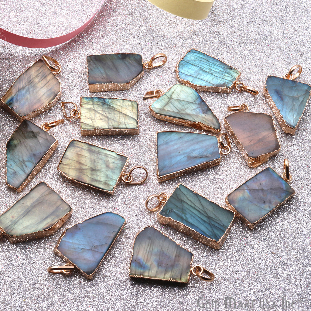DIY Flashy Labradorite Slice Gemstone 34x21mm Gold Edge Necklaces Pendant