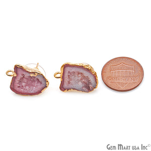 DIY Agate Slice Geode Druzy 21x15mm Gold Electroplated Loop Connector Studs Earrings - GemMartUSA