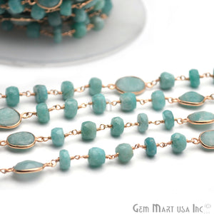 Amazonite Round Faceted Gold Plated Wire Wrapped Rosary Chain