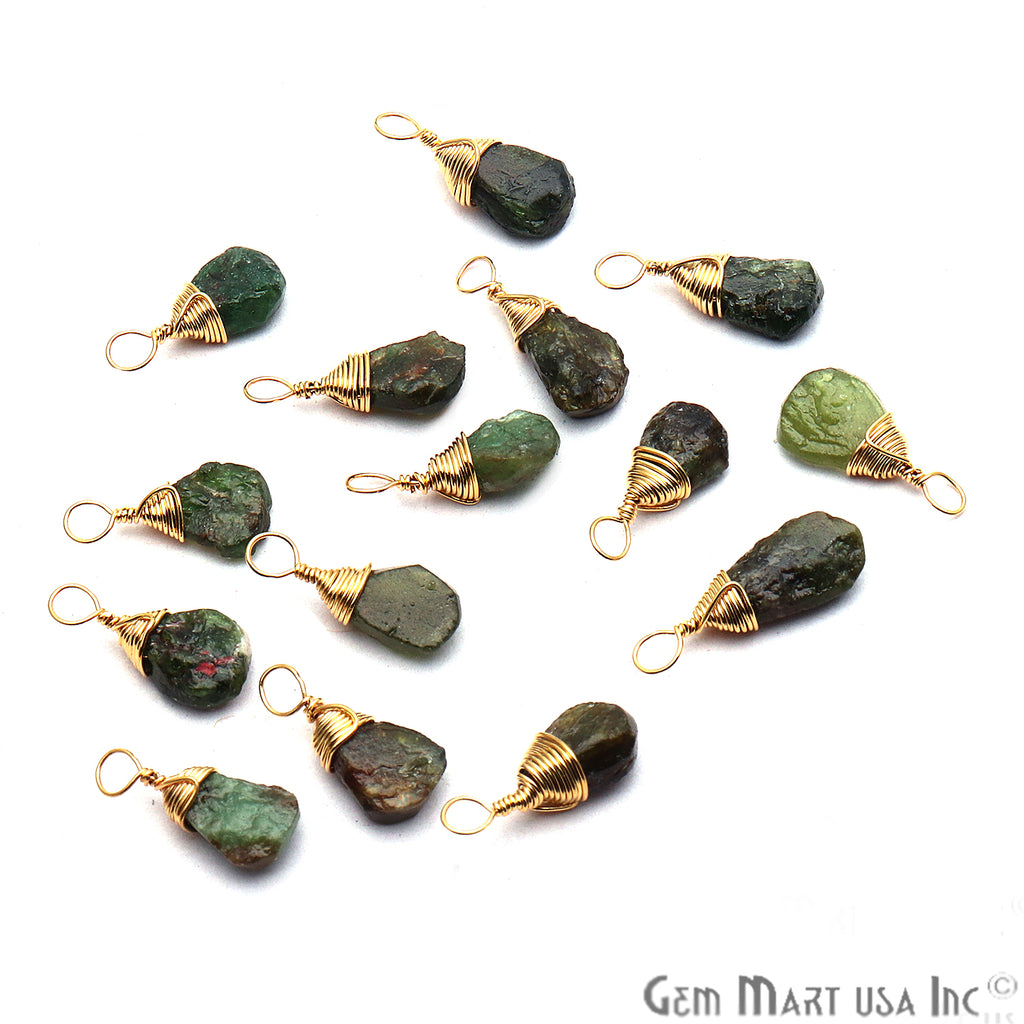 Green Garnet Gold Wire Wrapped 15x7mm Jewelry Making Drop Shape Connector