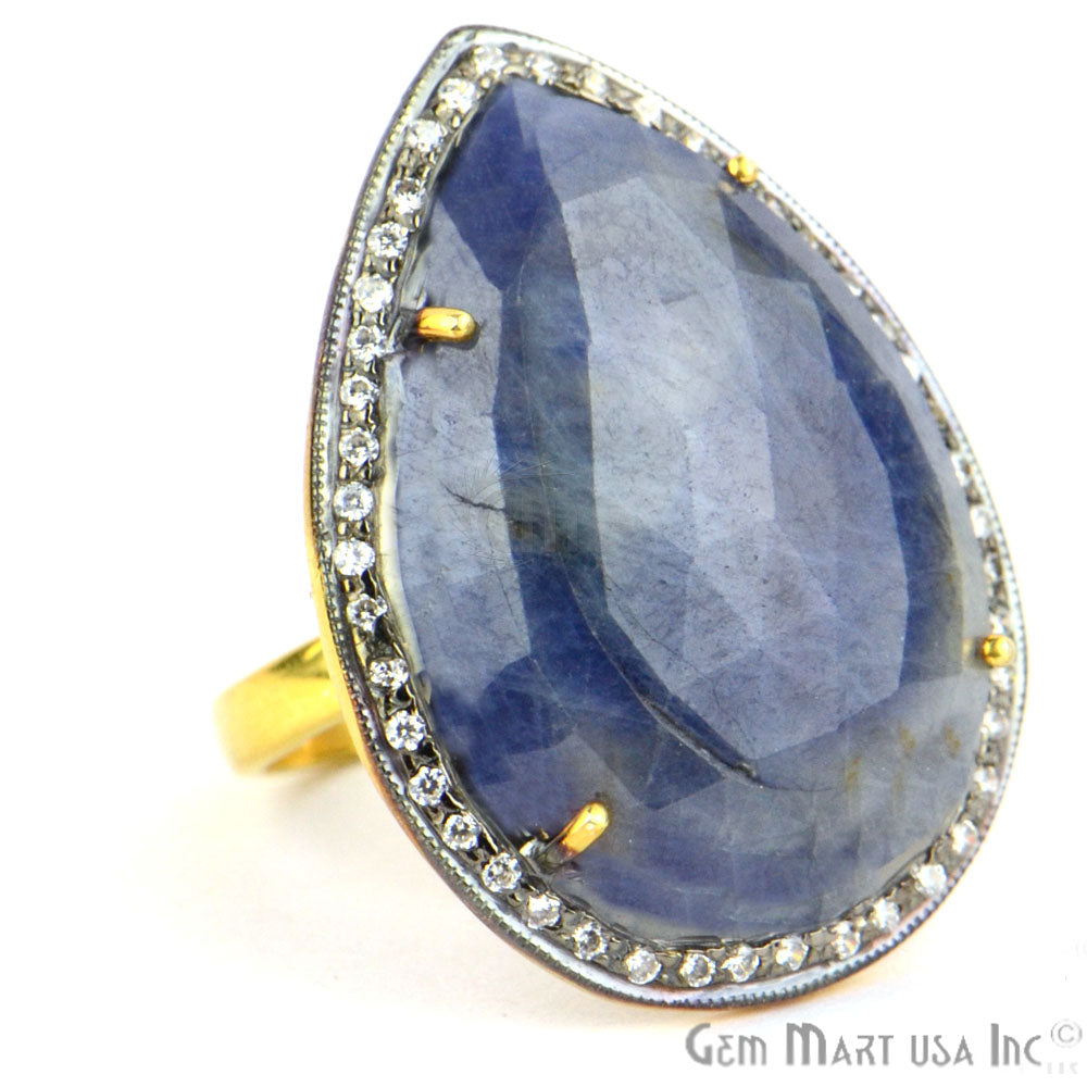 Blue Sapphire Cz Pave Diamond Ring, Gold Vermeil Prong Setting Gemstone, Gift Diamond Ring (CZRG-12279)