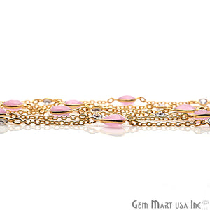 Rose Chalcedony 10mm With Crystal 5mm Gold Plated Bezel Link Connector Chain - GemMartUSA