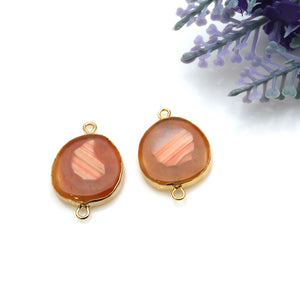Agate Slice 26x17mm Organic Gold Electroplated Gemstone Earring Connector 1 Pair