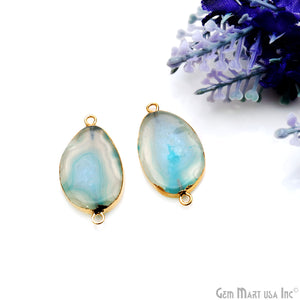 Agate Slice 31x16mm Organic Gold Electroplated Gemstone Earring Connector 1 Pair