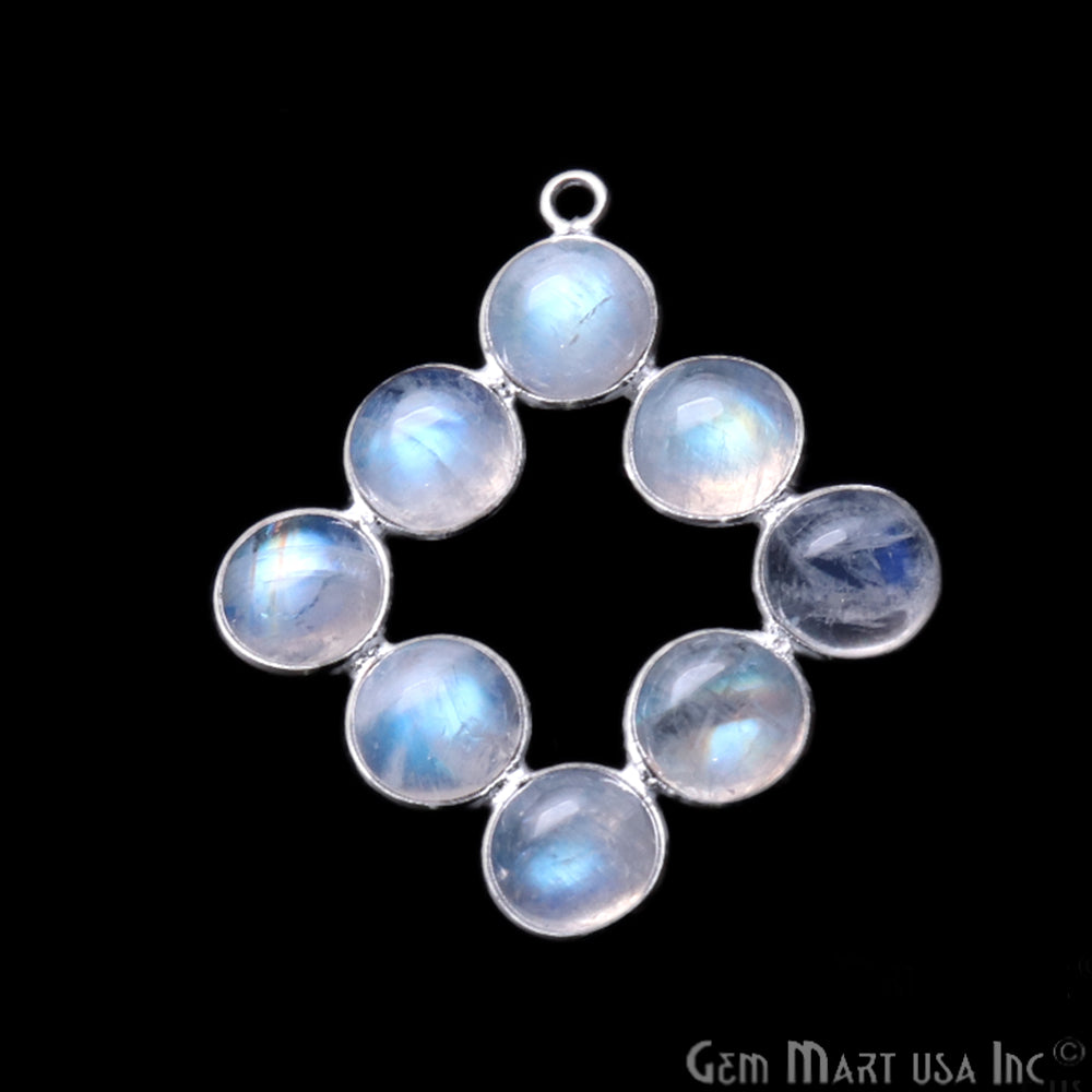 DIY Rainbow Moonstone 33x24mm Silver Plated Chandelier Finding Component